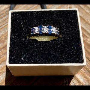 10K yellow gold diamond and Sapphire band ring